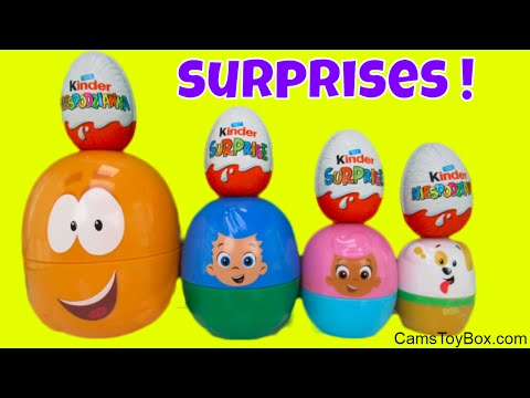Surprises Toys Bubble Guppies Stacking Cups Blind Bags Opening Kinder Eggs Chocolate Minions PJ Mask