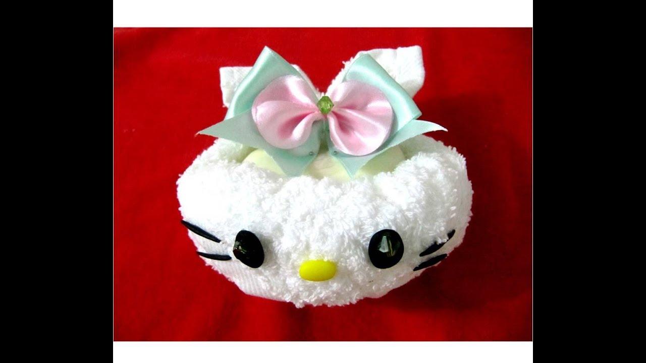 Manualidades baby shower como hacer kitty de toallas y - Como hacer manualidades ...