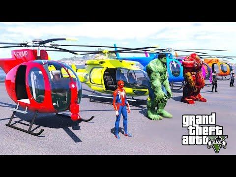 SPIDER-MAN \u0026 BIG HULK WITH HELICOPTER \u0026 SUPERHEROES HELICOPTERS CHALLENGE - GTA V Mods