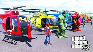 SPIDER-MAN & BIG HULK WITH HELICOPTER & SUPERHEROES HELICOPTERS CHALLENGE - GTA V Mods