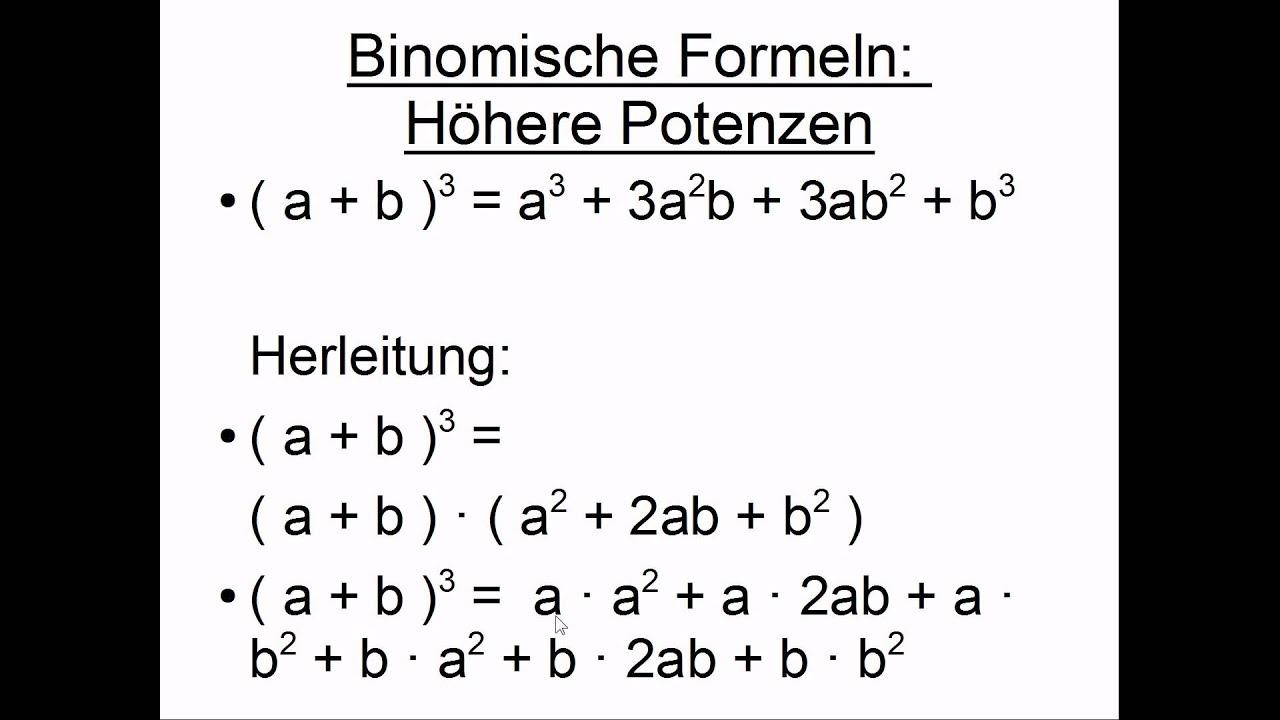 Binomische Formeln Hoch 3 4 5 - YouTube