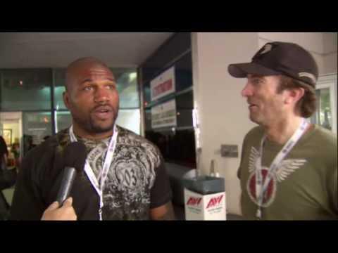 Sharlto Copley and Rampage Jackson at NASCAR