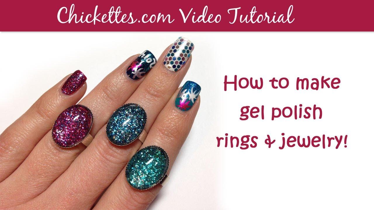 How to make gel nail polish rings & jewelry - YouTube