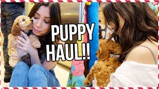 PUPPY GOES TO PET STORE!!! + Puppy Haul!!! | Vlogmas Day 18