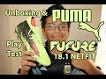Unboxing PUMA FUTURE 18.1 NETFIT FG/AG Men's Boys Soccer Cleats Plus + Field Test