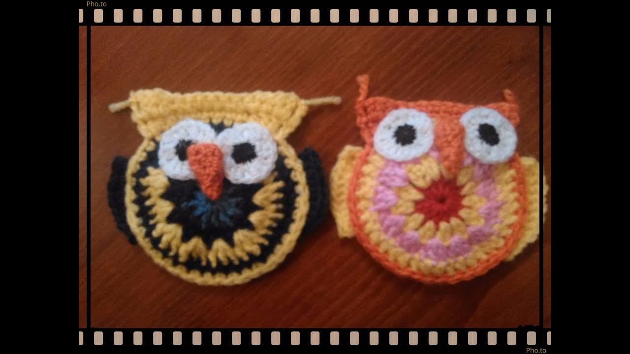 Excelente Búho Patrón De Aplicación Crochet Ornamento - Manta de ...