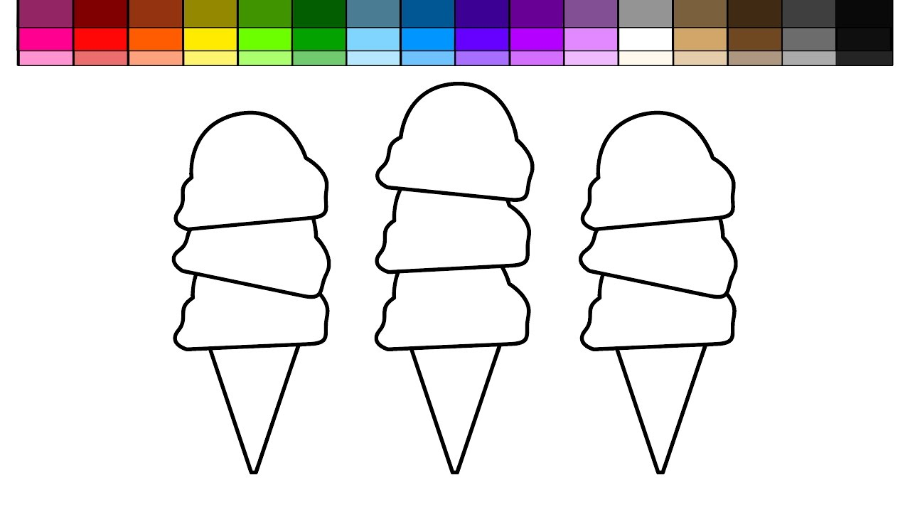 learn colors for kids and color ice cream triple scoop and rainbow