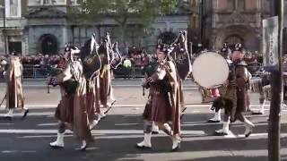Armistice Day 2016 at the Cenotaph - Entrance of the Pipes & Drums of the London Scottish