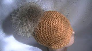 Вязание шапки узором путанка.Knitting hats pattern thread waste