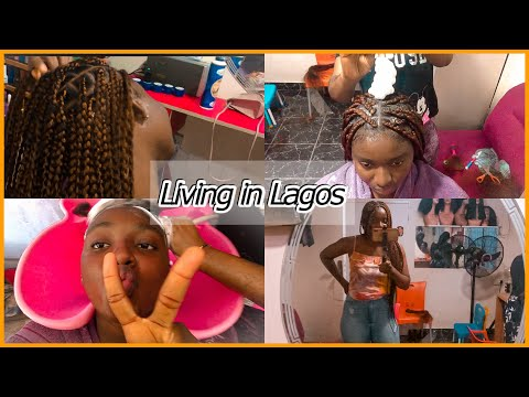 LIFE IN LAGOS||A TYPICAL NIGERIAN SALON EXPERIENCE || RELAXING +BRAIDING +AMEBO CENTRAL🍷🍷||#Vlog13