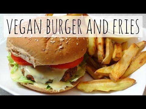 Vegan Burger and Fries Recipe (Low-Fat, Whole Food)
