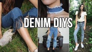 DIY CLOTHES DENIM (3 jeans and 1 choker)