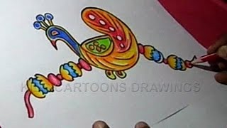 How to Make Handmade Peacock Rakhi Drawing for Kids Step by step