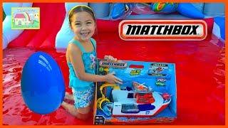 Cars Shark Boat Bath Toy Really Floats & Huge Surprise Egg w/ Car Toys