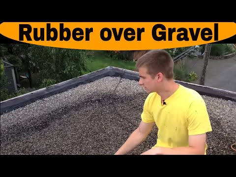 Weston - Installing a Rubber roof over gravel roof. Fast and easy. Ridgefield