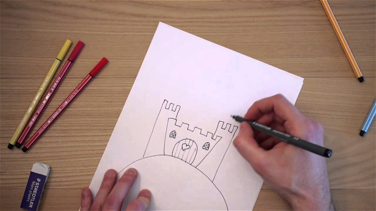 Come disegnare un castello youtube for Disegni disney facili da disegnare