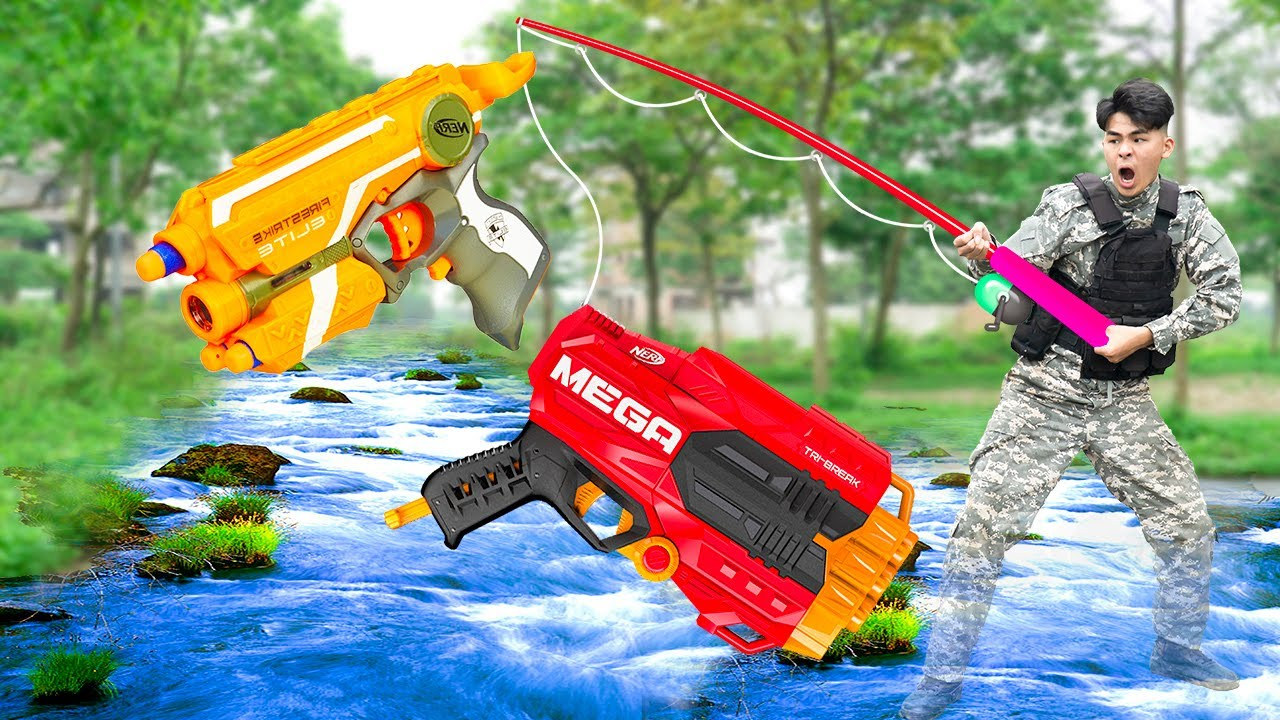 Battle Nerf War MARSOC Go Fishing & COMPETITION Nerf Guns Fight FISHING NERF BATTLE ANGLER