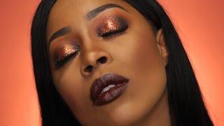 fall glam makeup tutorial 2016   glitter copper smokey eye bold lips   dark skin pelle nera scura