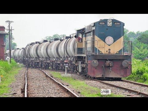 BR 6305 Bombardier Mx 624 BG Loco Pulled BTO (Bogie Tank Oil)/ Oil Tanker Train- Bangladesh Railway