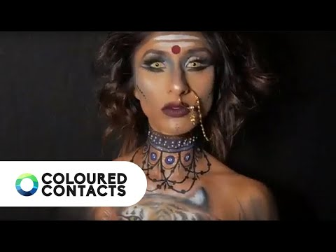 "Yellow Avatar Lenses & Shiva ""The Destroyer"" Makeup with @Makeup_By_Rups"
