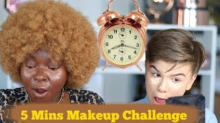 5 Minutes Makeup Challenge W/ A 13 Years Old 😲 | Shalom Blac