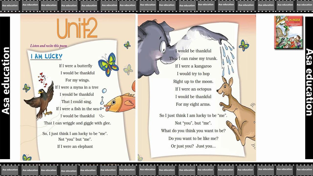 Poem 2 I am Lucky (English - Marigold, Grade 2, CBSE) Poem in Easy  Hindi/English