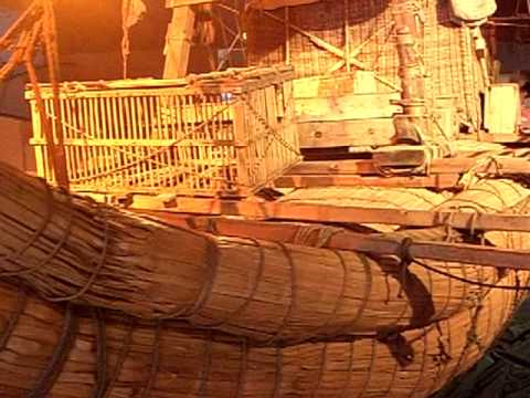 Egyption era RA II reed boat reconstruction of the 1970 Thor Heyerdahl expedition.