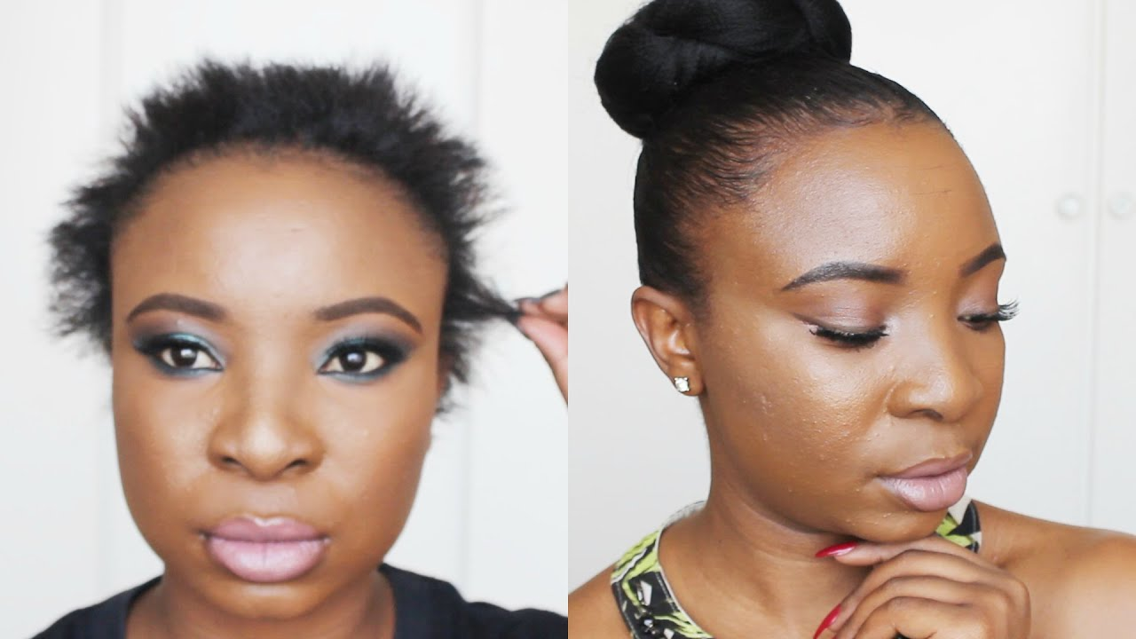 sleek bun on short hair - youtube