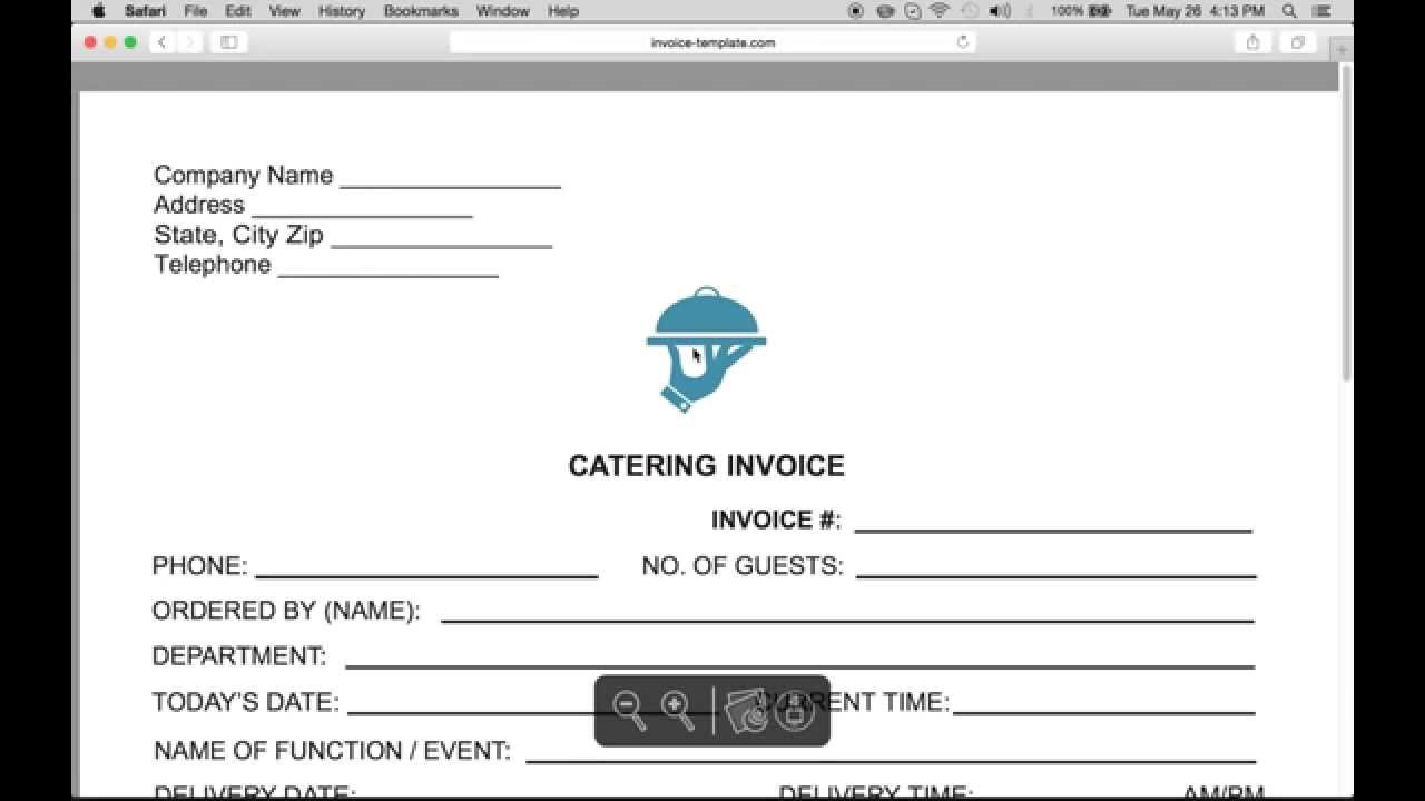 Make A Catering (Food) Service Invoice | PDF | Word | Excel   YouTube  Invoice Make
