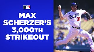 3,000!!! Max Scherzer bec๐mes the 19th pitcher in MLB history to reach 3,000 strikeouts!