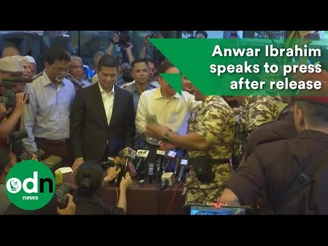 Malaysia's Anwar Ibrahim speaks to press after release