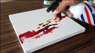 Easy & Simple Abstract Painting on Canvas in Acrylics / Demonstration / Project 365 days / Day #070