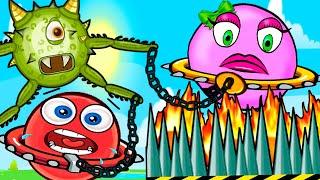 ВСЕ СЕРИИ ПОДРЯД - мультики про красный шарик в игре Red Ball 5. Розовый шар девочка в цепях!