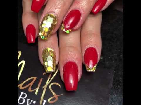 Red Overlay Gold Coffin Nails