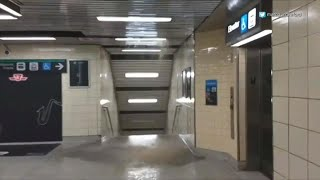 Torrential rain causes flooding in Jane subway station