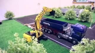 Строительная техника: грузовики, экскаваторы, самосвалы, кран на радиоуправлении.(Уникальная трасса Строительная техника на радиоуправлении: радиоуправляемый грузовик, кран на радиоуправ..., 2012-10-04T22:07:51.000Z)