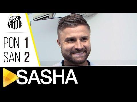 Primeiro gol de Sasha com a camisa do Santos FC