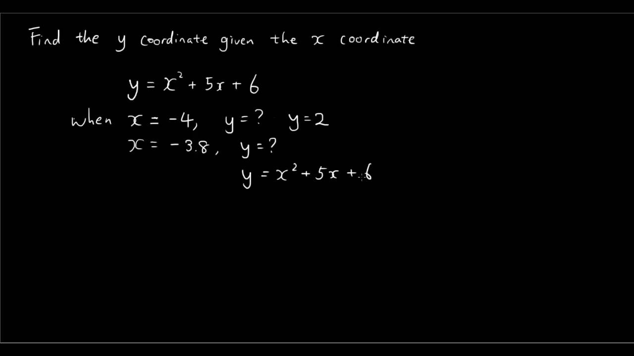 quadratic equation given the x coordinate find the y. Black Bedroom Furniture Sets. Home Design Ideas