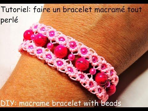 tutoriel faire un bracelet macram perl diy macrame bracelet with beads youtube. Black Bedroom Furniture Sets. Home Design Ideas
