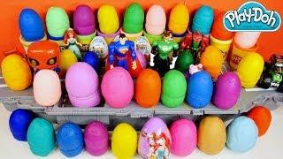 40 play doh kinder surprise eggs pixar cars barbie trash pack disney princess hello kitty playdough