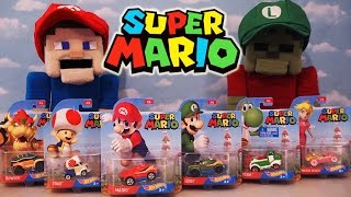 Hot Wheels Super Mario Nintendo Character Cars Die Cast Toy Car Set Luigi Toad Yoshi Unboxing switch