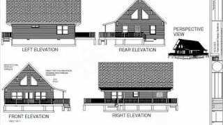 PDF Barn Plans - #h257 1000 Sq Ft Custom Cabin Design With C