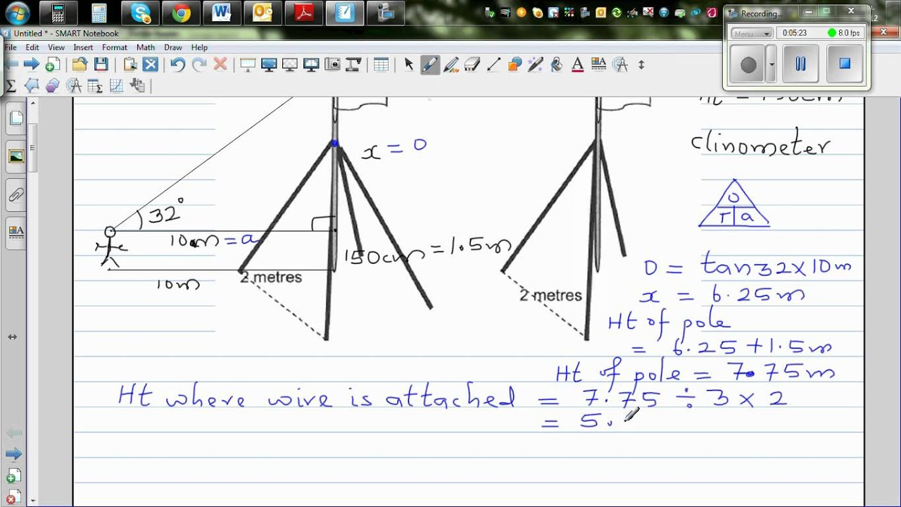 Finding the height of a pole and the length of a wire using ...