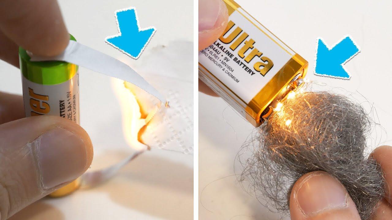 沒打火機,如何用電池生火?4個電池生火方法,在野外沒打火機也能取火!4 Ways to make a fire with battery