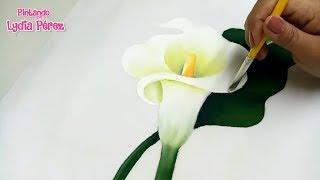 Pintura en tela como pintar flores fácil / alcatraz / How to paint Calla Lily