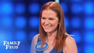 Whatever Sarah's DOING... Stallions don't DIG IT | Celebrity Family Feud