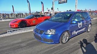 980HP VW Golf V R32 GTX42 Turbo vs 550HP Chevrolet Corvette Z06