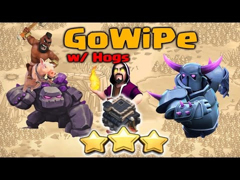 Clash of Clans - GoWiPe with Hog Riders TH9 Strategy for 3 Stars | TH9 War Attack Strategy