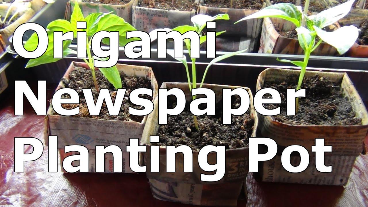 Origami Newspaper Pot