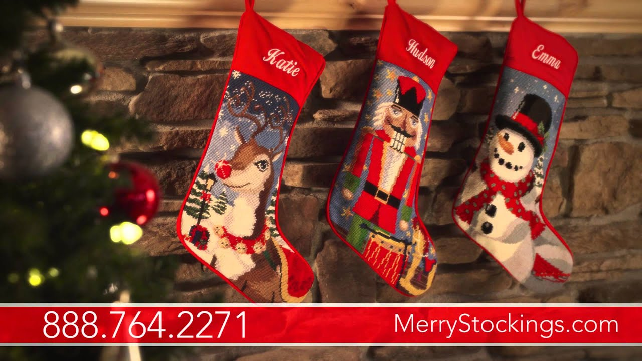 Needlepoint Christmas Stockings Personalized For Your Family